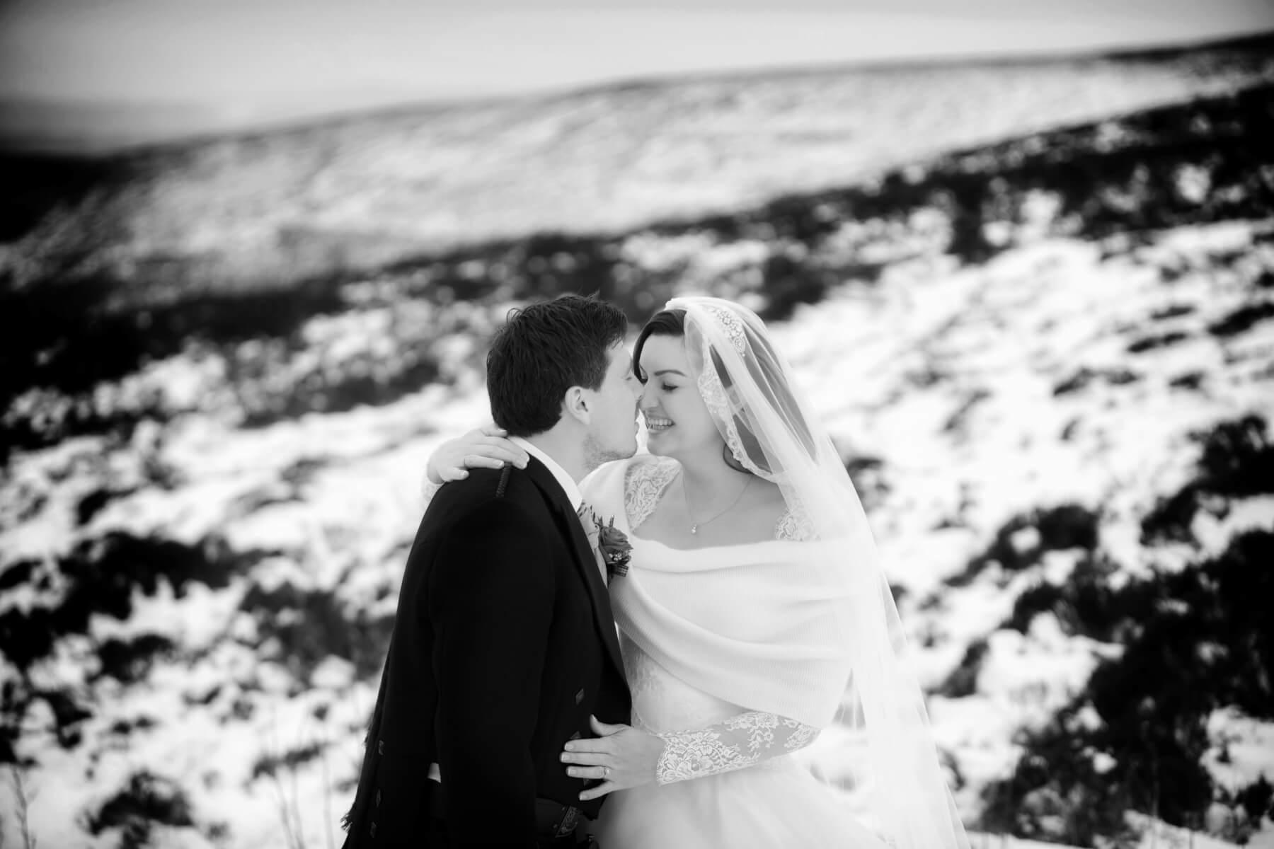Scottish snowy wedding
