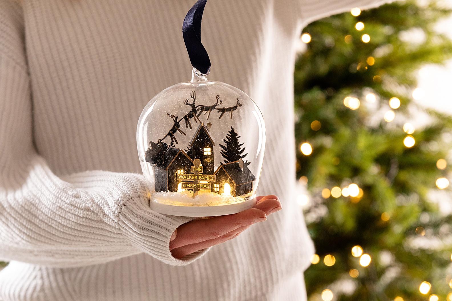 Christmas snowglobe product photography Edinburgh