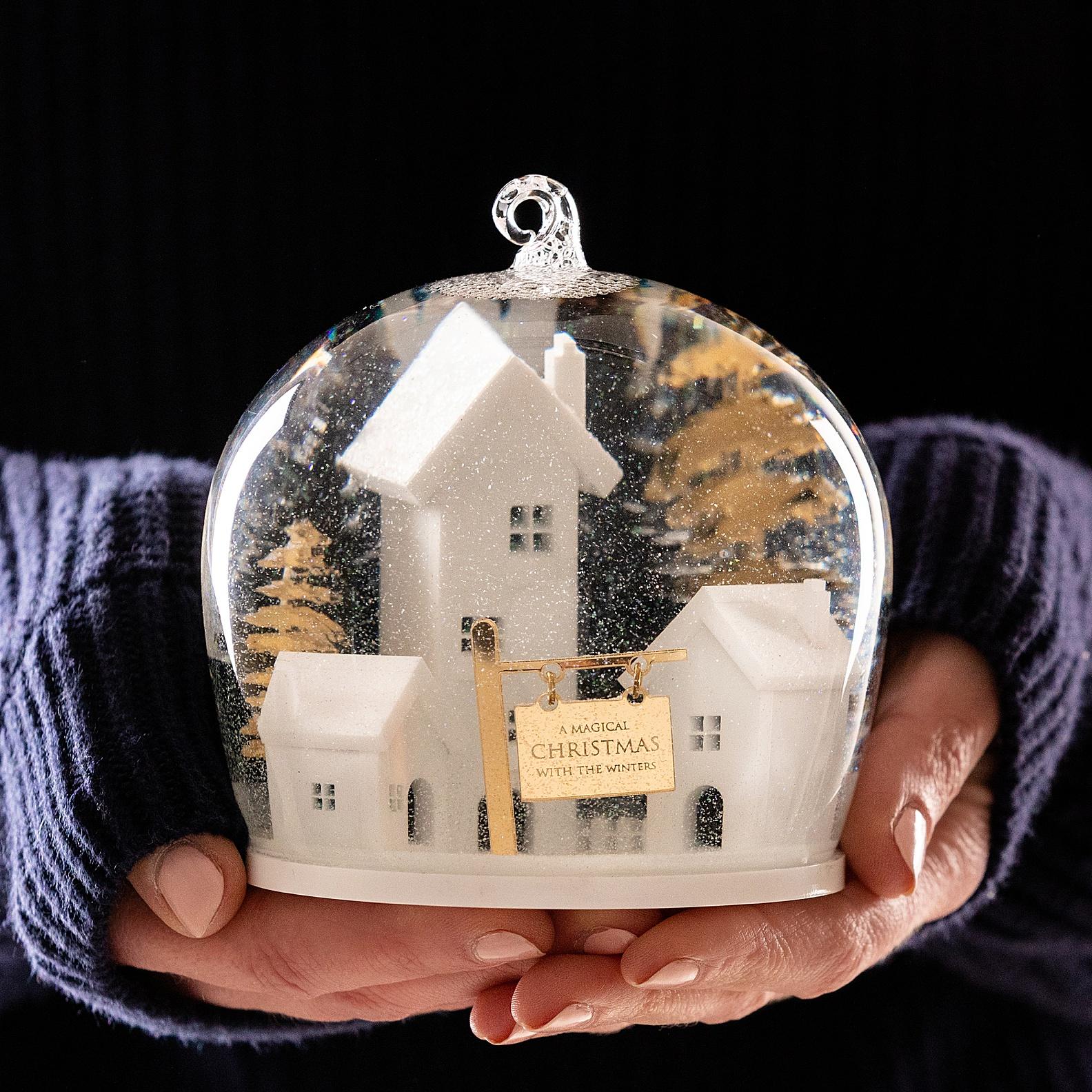 Christmas snow globe product photography Edinburgh